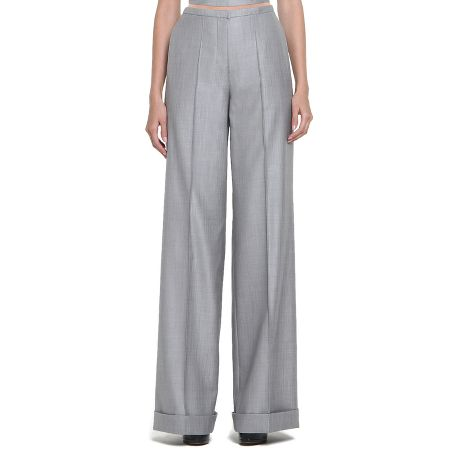 Yves Saint Laurent - US - Grey Wool and Silk Pants - Pants and Skirts :  wool retro ysl cuffs