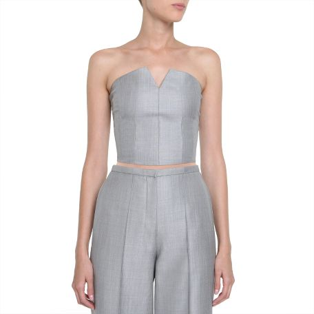 Yves Saint Laurent - US - Grey Wool and Silk Bustier - Tops
