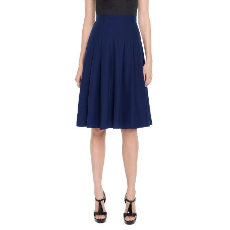 Yves Saint Laurent - US - Navy Silk Skirt - Pants and Skirts :  knee length skirt ysl yves saint laurent