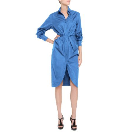 Yves Saint Laurent - US - Blue Cotton Dress - Dresses :  knee length dress ruching gathered
