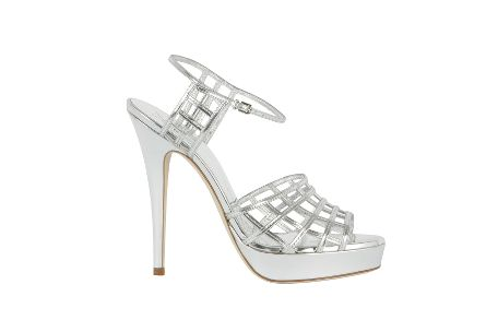 Yves Saint Laurent - US - Cage Platform Sandal in Silver Metallic Leather - Sandals