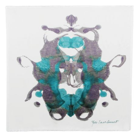Yves Saint Laurent - US - Turquoise Butterfly Pattern on Ivory Silk 90 by 90 - Accessories :  chic design designer butterfly