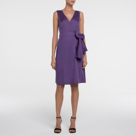 Yves Saint Laurent - US - Cotton Wrap Dress in Black or Violet - ReadyToWear :  knee length dress ysl yves saint laurent