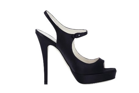 Yves Saint Laurent - US - High Heeled Tribute Platform Sandal in Black or Red Satin - Shoes