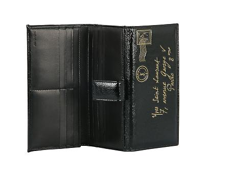 Yves Saint Laurent - US - Y-Mail Patent Flap Wallet in Black - Wallets