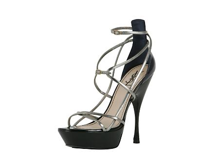 Yves Saint Laurent - US - Platform Strappy Sandal in Silver and Navy Patent - Sandal