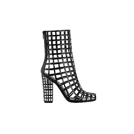 Cage Boot in Black Patent