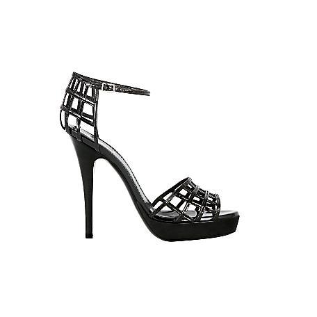 Cage Platform Sandal in Black Patent
