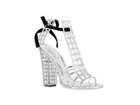 Cage Sandal in Silver Metallic Leather