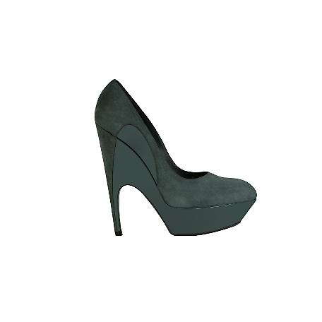 Sculpted Platform Pump in Grey Suede and Patent