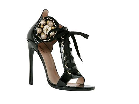 Yves Saint Laurent - US - High Heel Lace Up Sandal with Jeweled Medallion in Black Patent 105 mm - Shoes