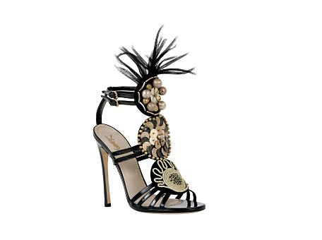 Yves Saint Laurent - US - High Heel Black Patent Sandal with Feathers 105 mm - Shoes