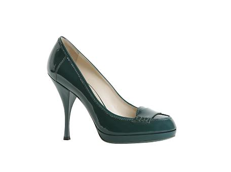 Yves Saint Laurent - US - High Heeled Patent Pump in Dark Turquoise or Eggplant - Shoes