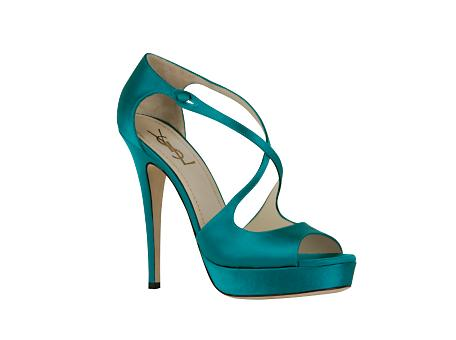 Yves Saint Laurent - US - High Heeled Tribute Platform Sandal in Turquoise Satin - Shoes from ysl.com