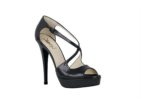 Yves Saint Laurent - US - High Heeled Tribute Platform Sandal in Textured Black Patent - Shoes